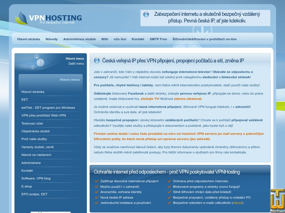 vpnhosting.cz Screenshot