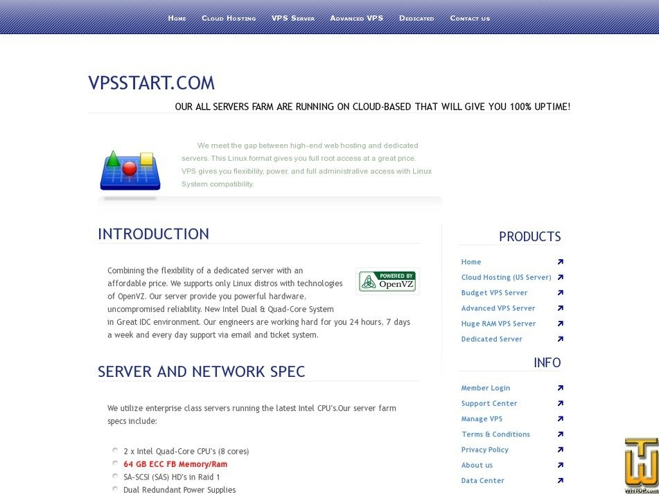 vpsstart.com Screenshot