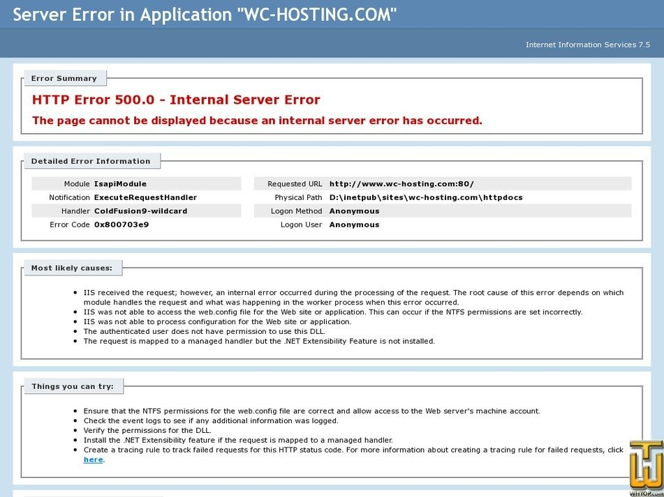 wc-hosting.com Screenshot