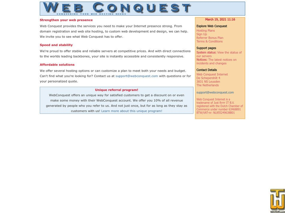 webconquest.com Screenshot