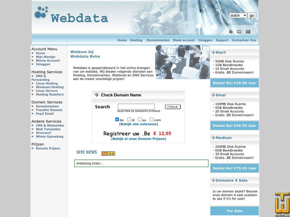 webdata.be Screenshot