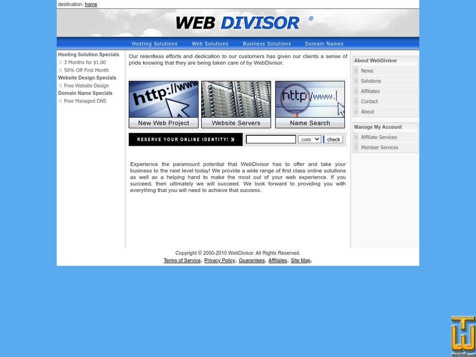 webdivisor.com Screenshot