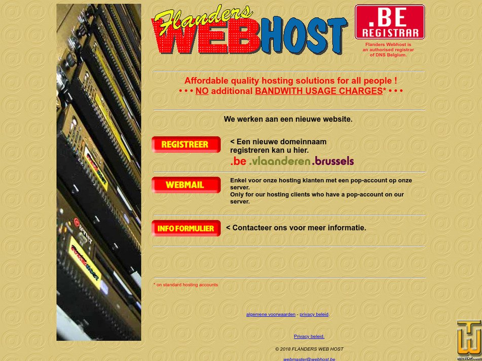 webhost.be Screenshot