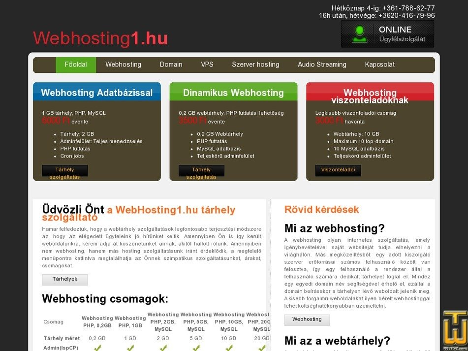 webhosting1.hu Screenshot