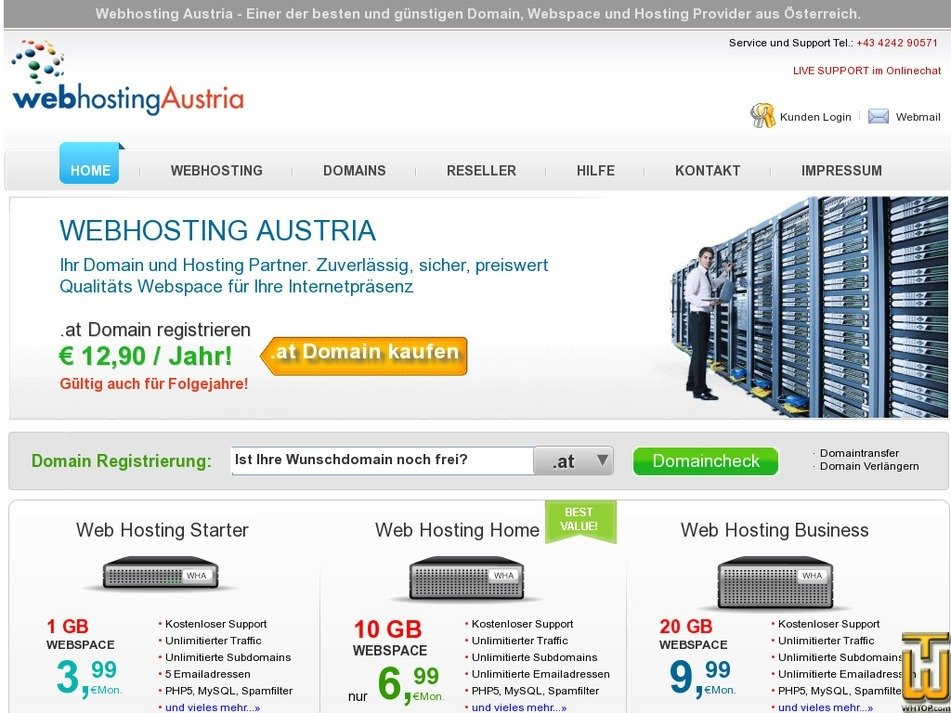 webhostingaustria.at Screenshot