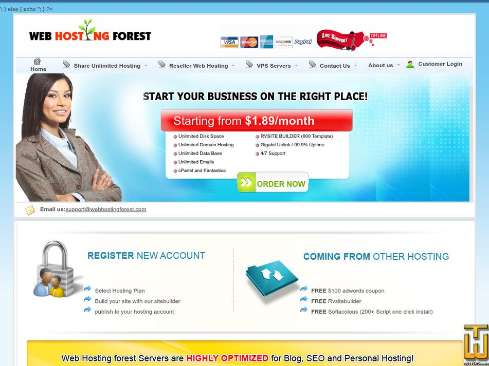 webhostingforest.com Screenshot