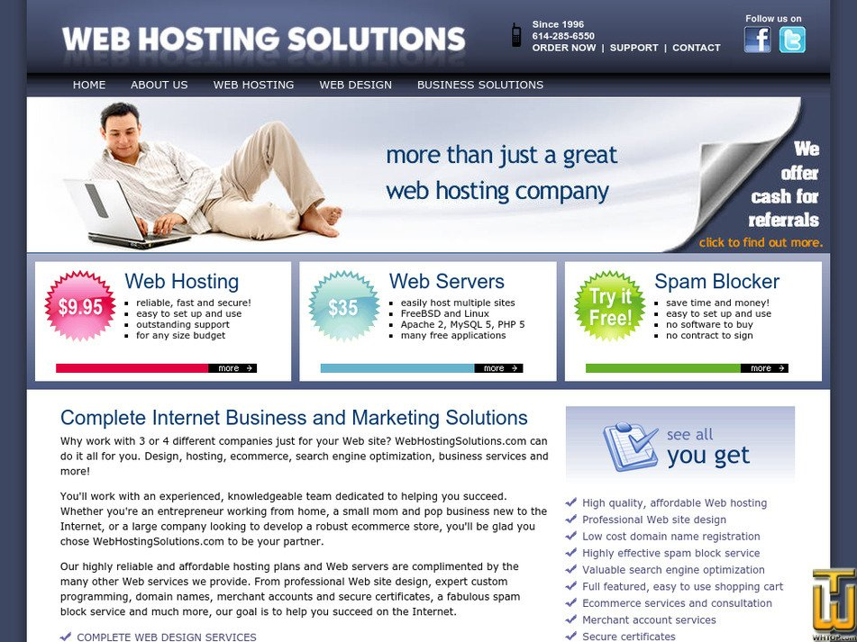 webhostingsolutions.com Screenshot