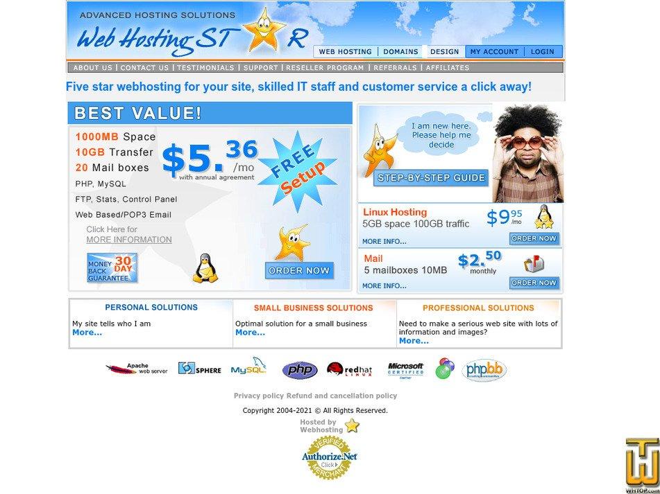 webhostingstar.com Screenshot