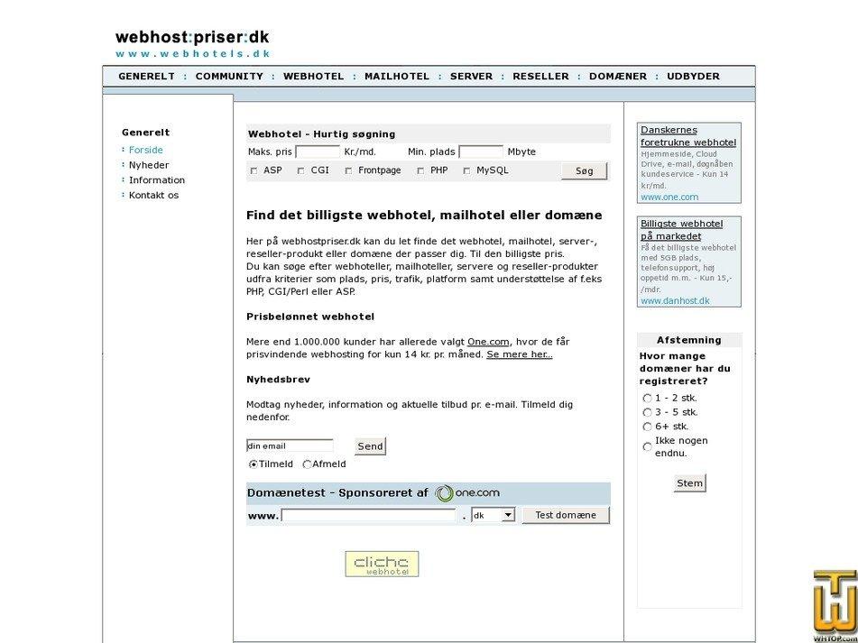 webhostpriser.dk Screenshot