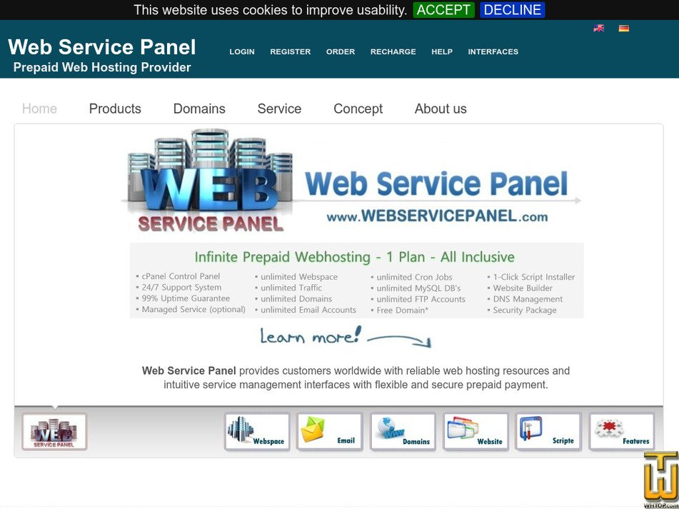 webservicepanel.com Screenshot