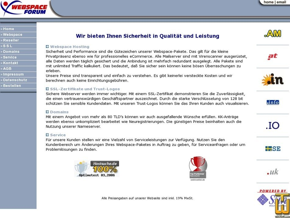 webspace-forum.de Screenshot