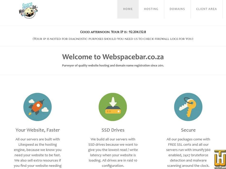 webspacebar.co.za Screenshot