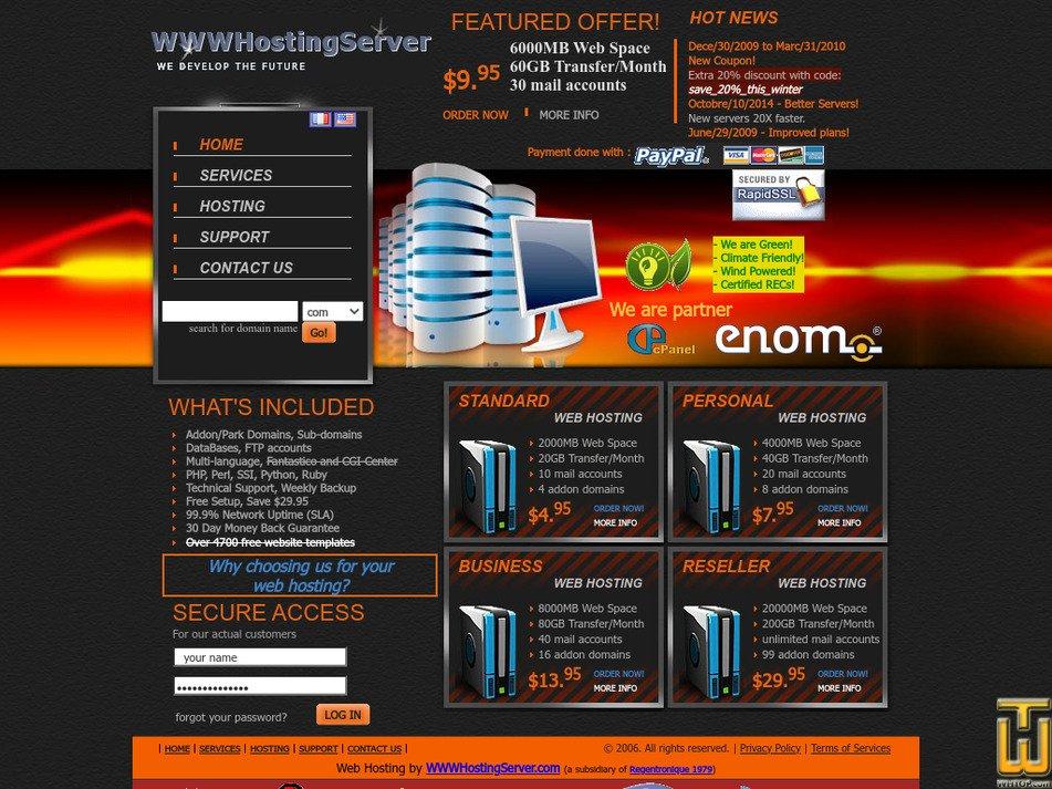 wwwhostingserver.com Screenshot