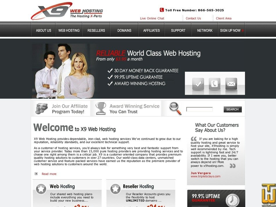 x9hosting.com Screenshot