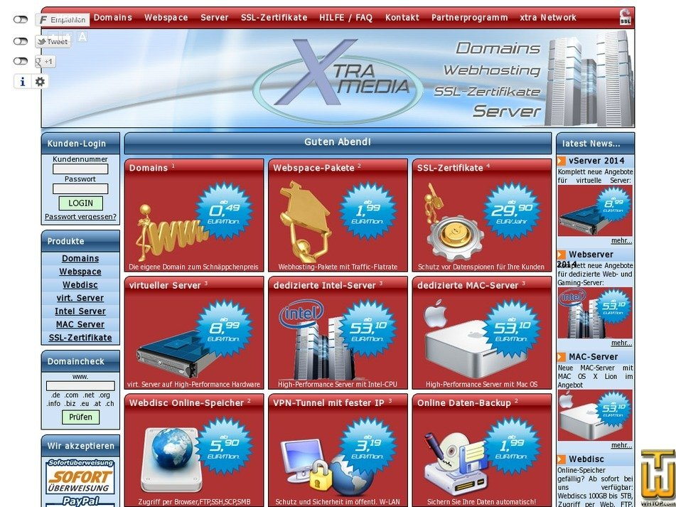 xtra-hosting.de Screenshot
