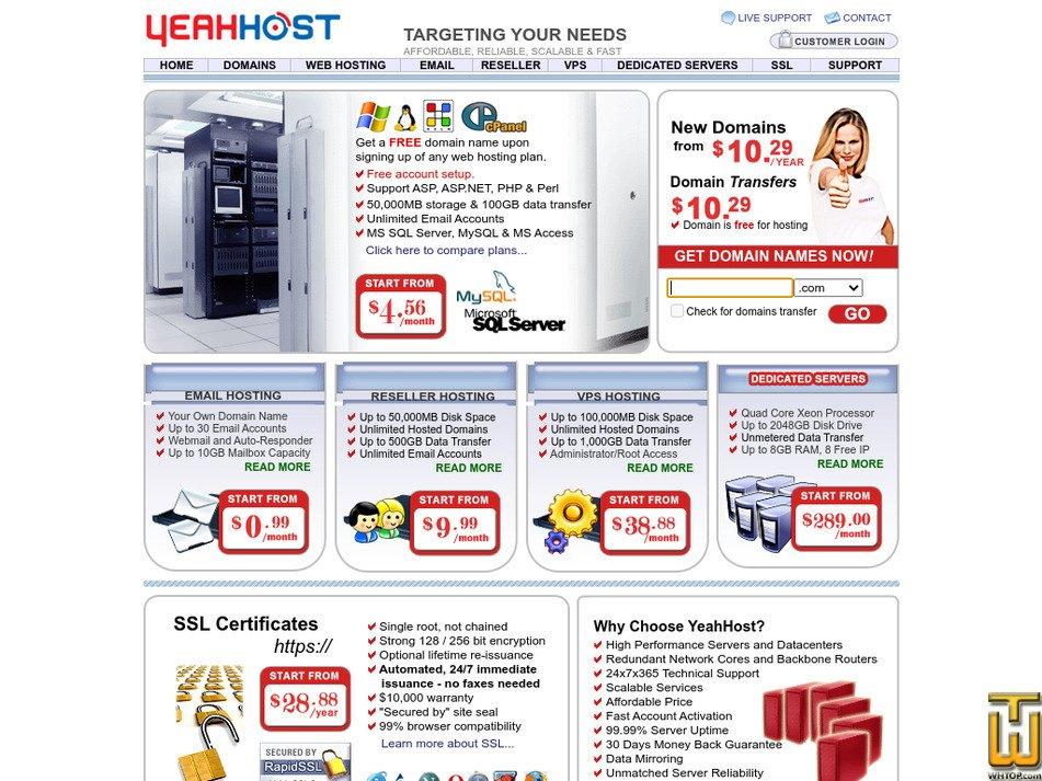yeahhost.com Screenshot