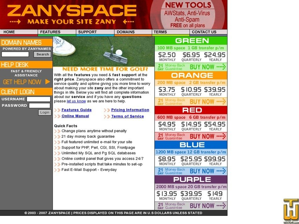 zanyspace.com Screenshot