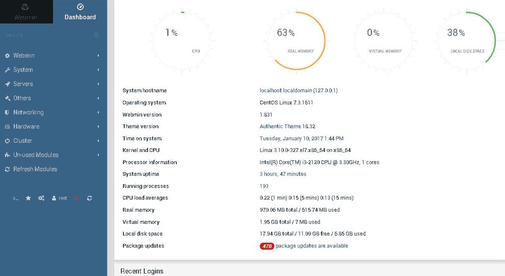 Webmin dashboard