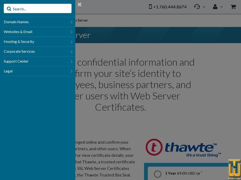 Screenshot of Thawte SSL Web Server from 101domain.com