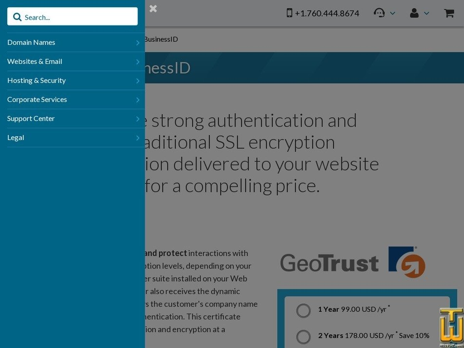 Screenshot of GeoTrust True BusinessID EV from 101domain.com