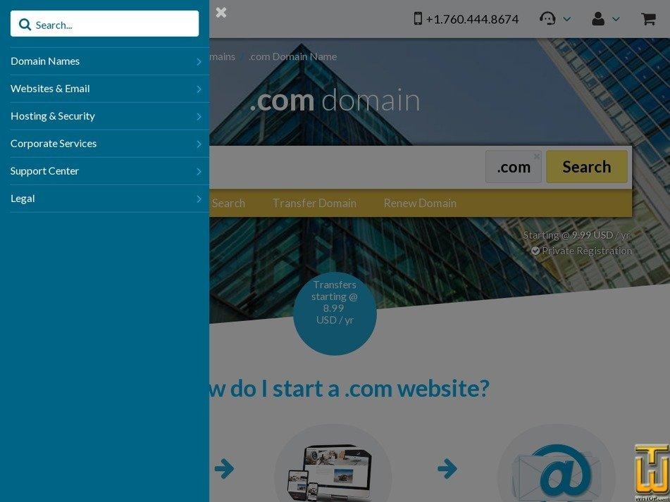 Screenshot of .COM from 101domain.com