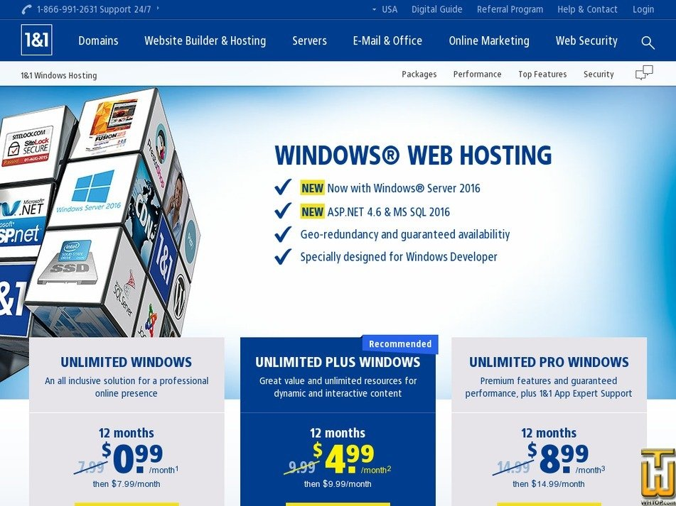 Screenshot of Unlimited Pro Windows from 1and1.com