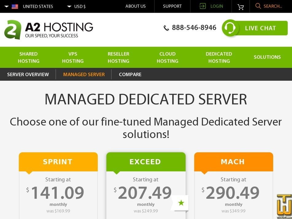 Screenshot of Sprint from a2hosting.com