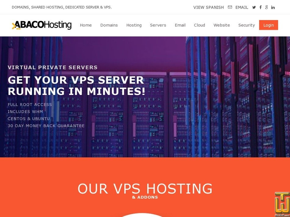 Screenshot of ABACO VPS V from abacohosting.com