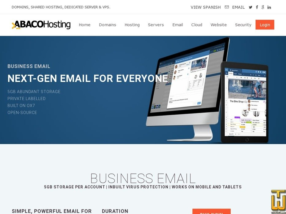Screenshot of BUSINESS EMAIL from abacohosting.com