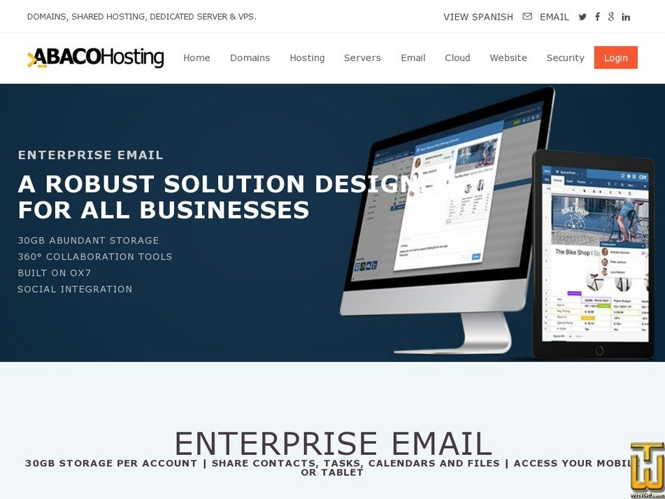 Screenshot of ENTERPRISE EMAIL from abacohosting.com