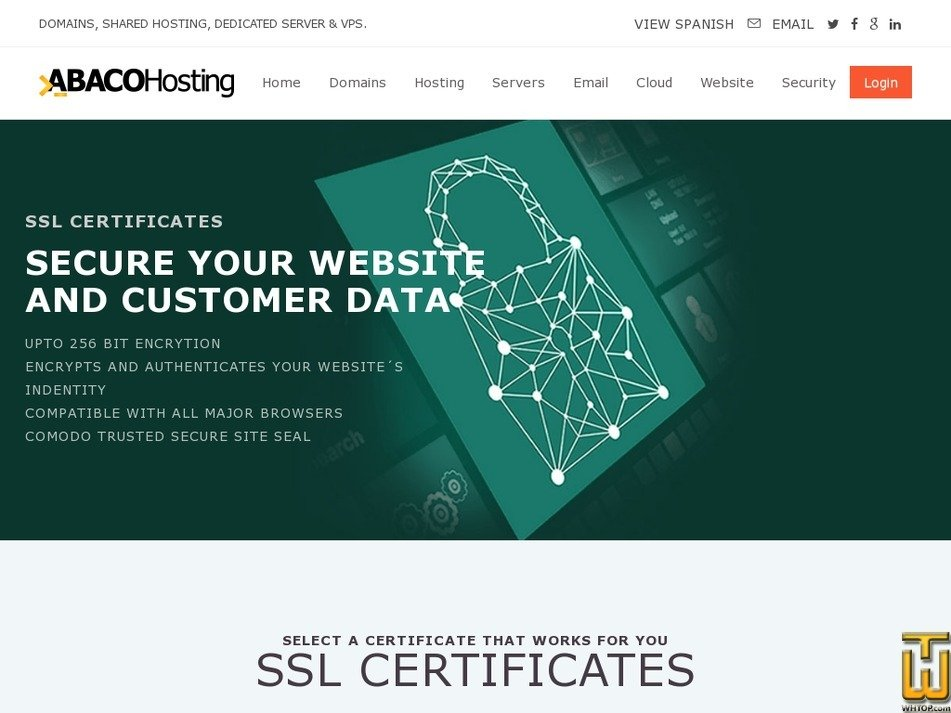 Screenshot of POSITIVE SSL WILDCARD from abacohosting.com