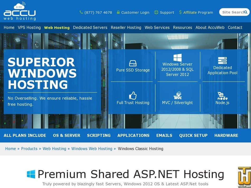 Screenshot of Windows Personal Web Hosting from accuwebhosting.com