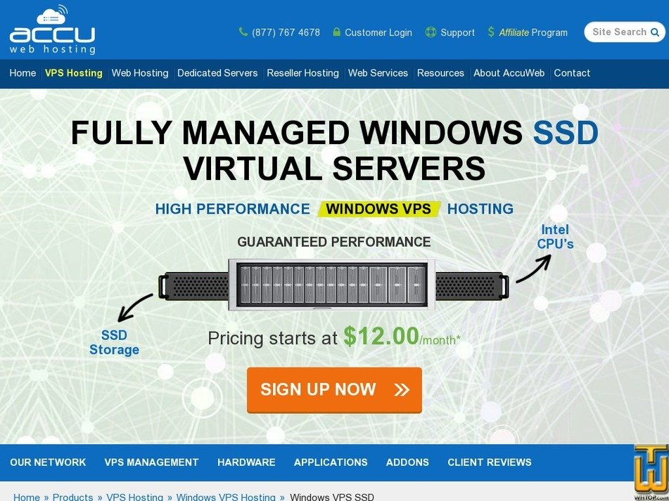 Screenshot of SSD VPS Diamond from accuwebhosting.com