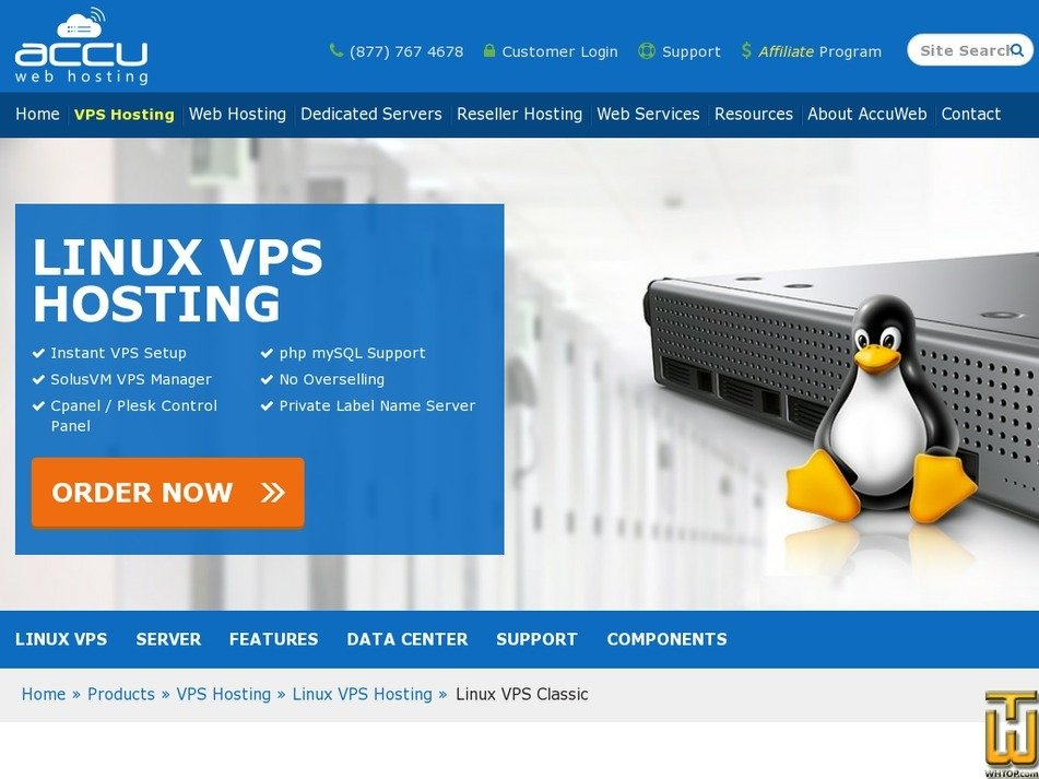 Screenshot of VPS Saturn from accuwebhosting.com