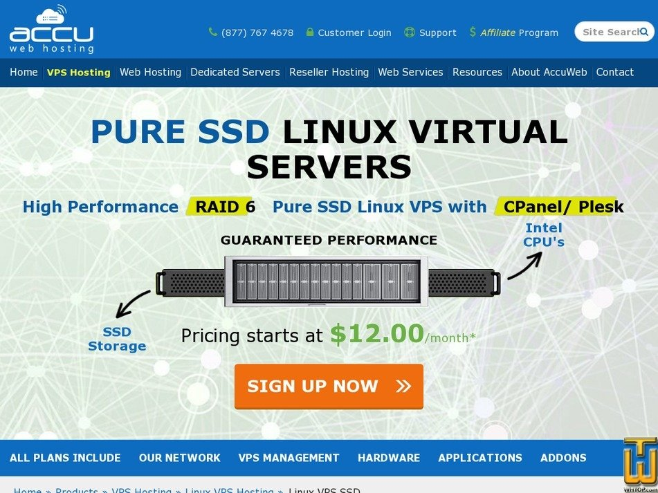 Screenshot of SSD Saturn VPS from accuwebhosting.com