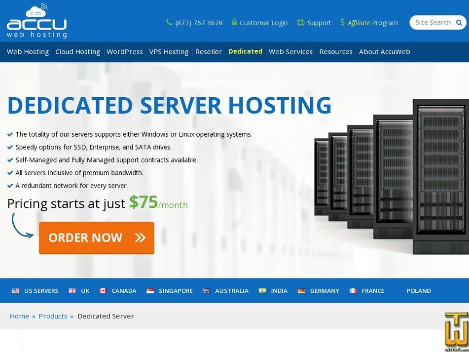 Screenshot of Intel Xeon D1520 (4c/8t, 2.4 GHz) from accuwebhosting.com