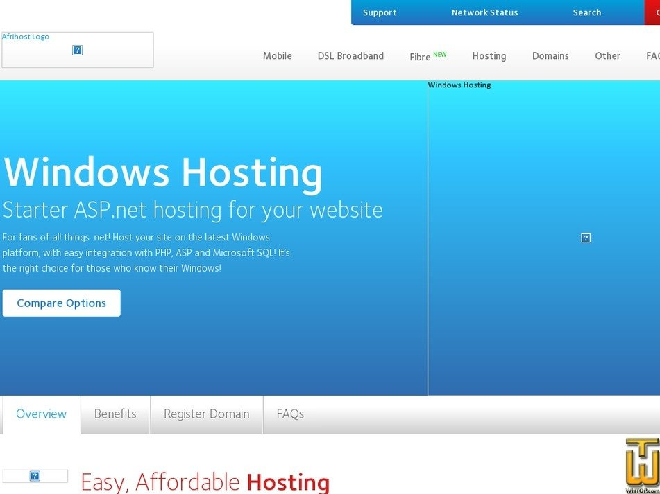 Screenshot of Bronze Home from afrihost.com