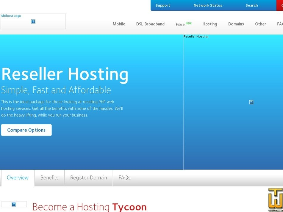 Screenshot of Reseller Hosting from afrihost.com