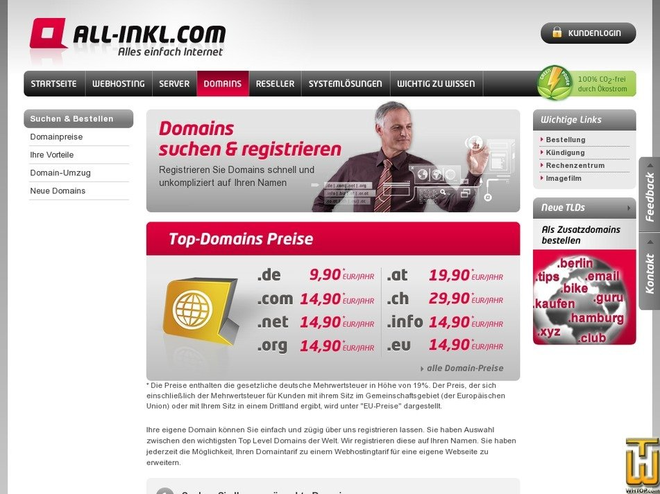 Screenshot of .at from all-inkl.com