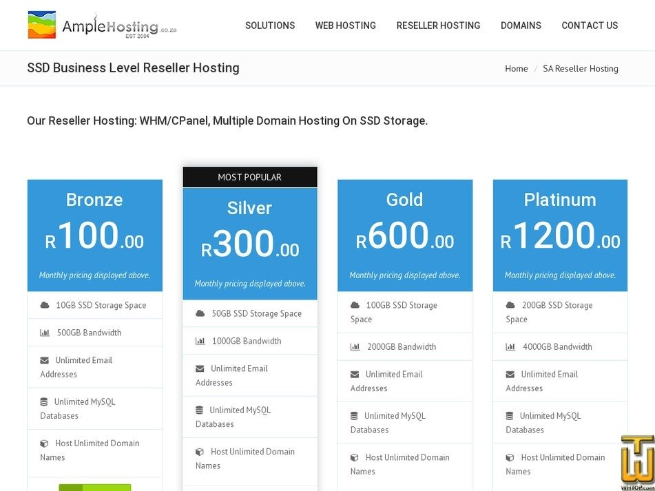 Screenshot of Reseller Bronze from amplehosting.co.za