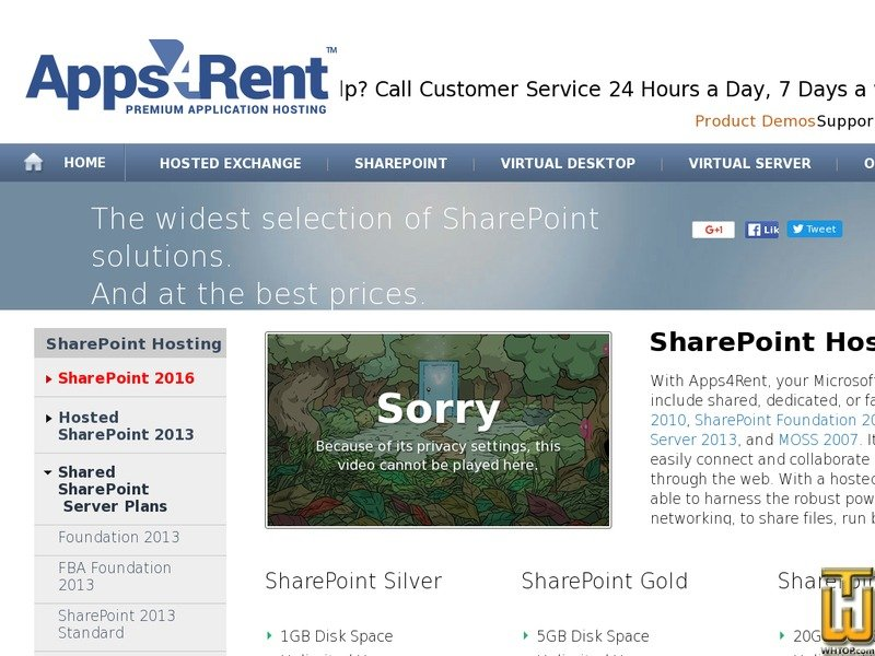 Screenshot of Best Windows SharePoint Hosting Plans from apps4rent.com