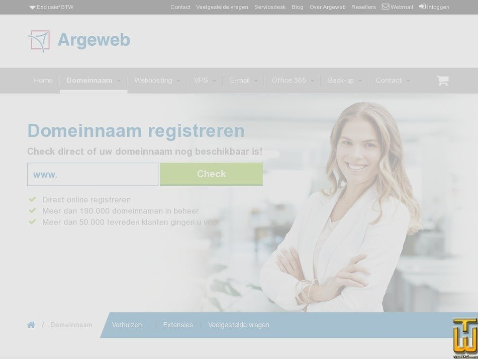 Screenshot of Domeinnaam registreren from argeweb.nl