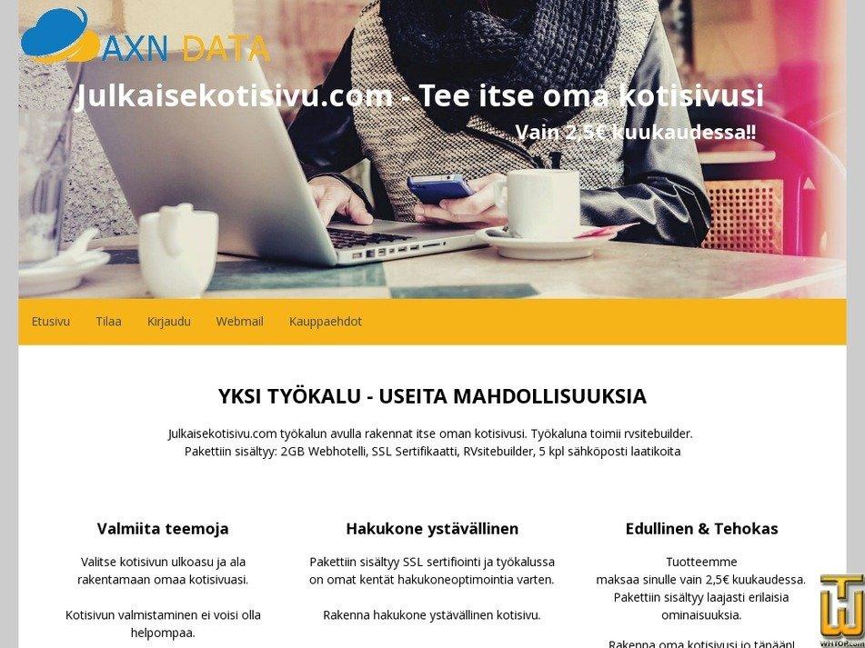 Screenshot of Tee itse oma kotisivu from axndata.fi