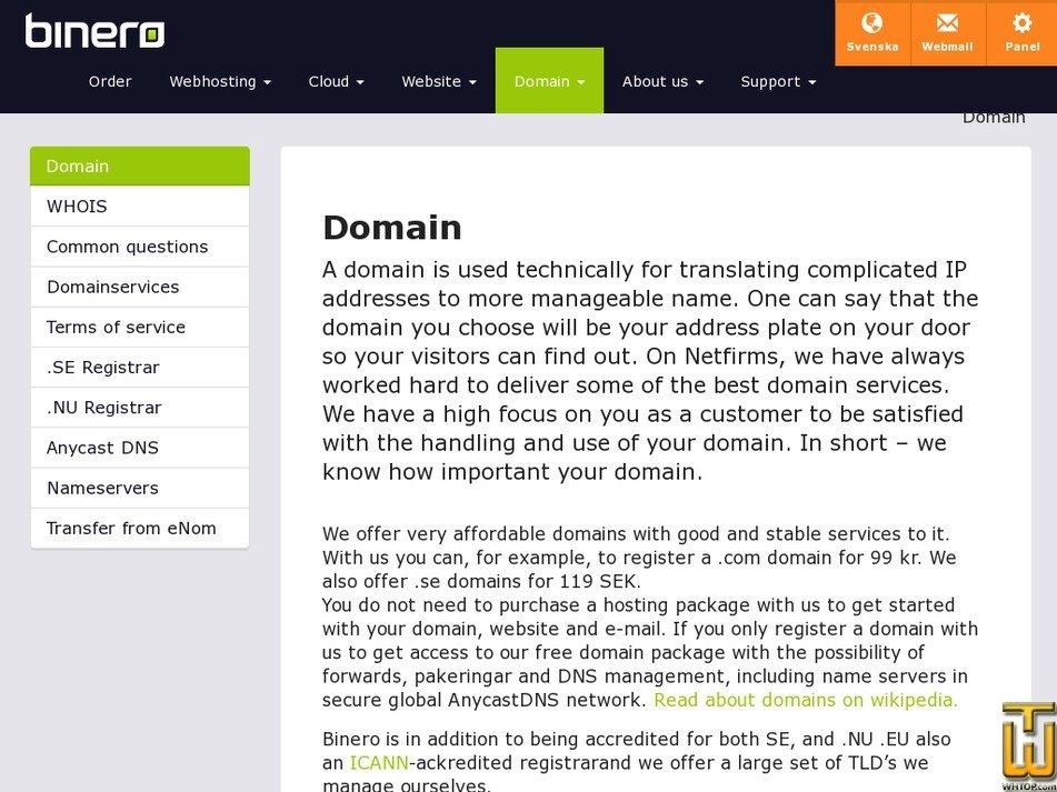 Screenshot of .com .net .eu from binero.se