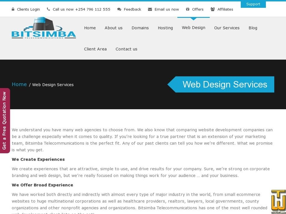 Screenshot of Starter Website from bitsimba.com