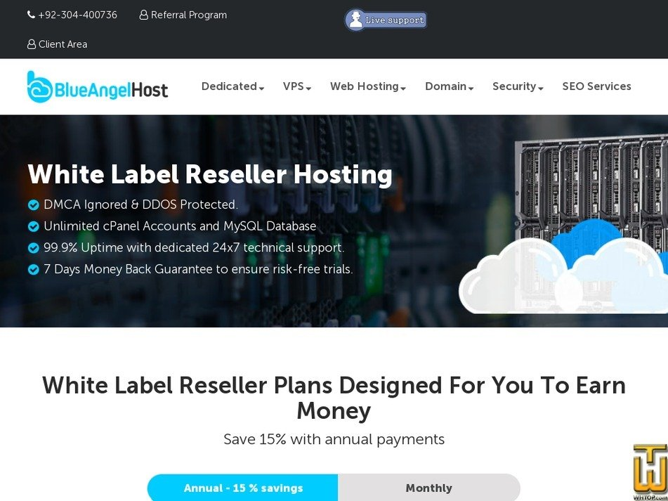 Screenshot of Basic Reseller from blueangelhost.com