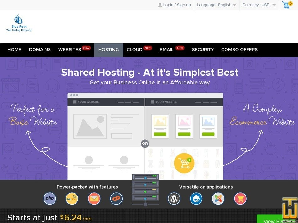 Screenshot of Linux Shared Hosting from bluerock.co.in