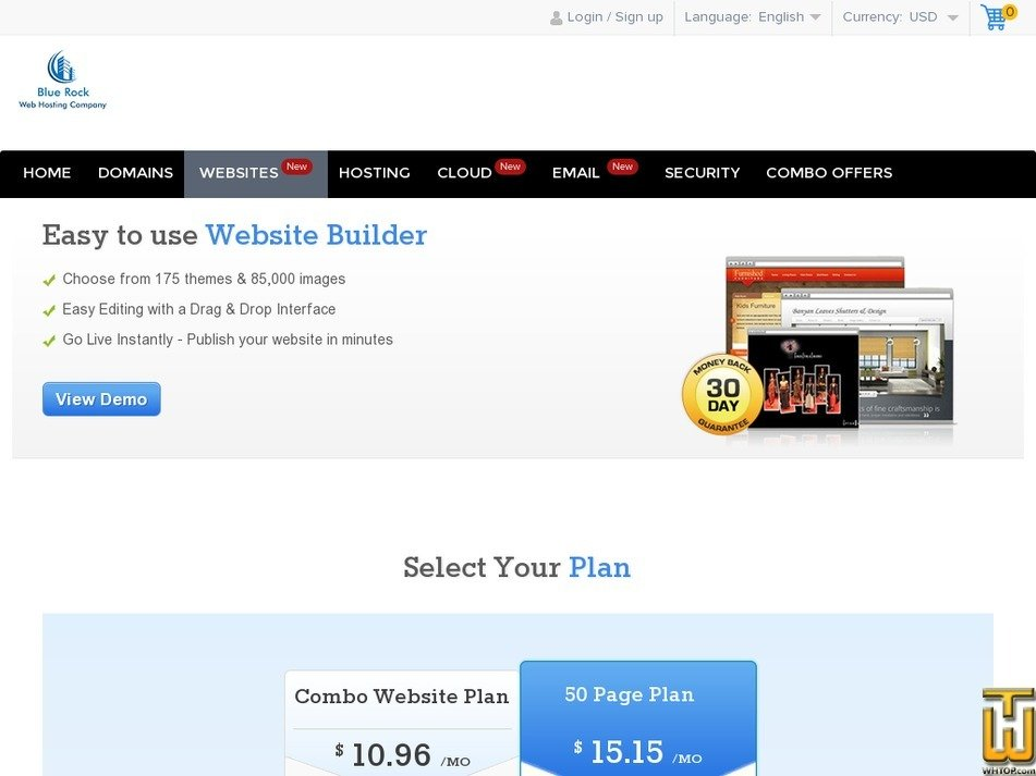 Screenshot of Website Builder from bluerock.co.in