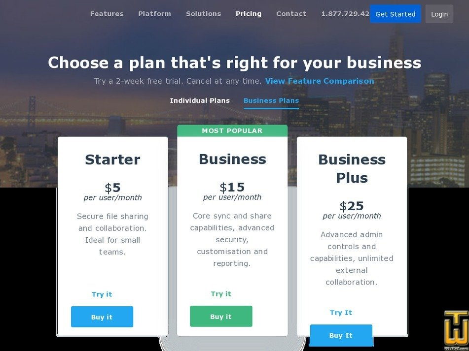 Screenshot of Business Plus from box.com