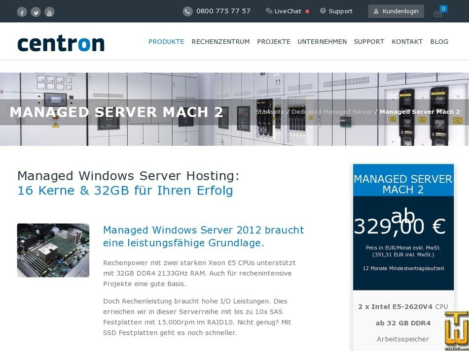 Screenshot of Managed Server Mach 2 from centron.de